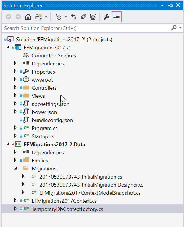 Enable Entity Framework Core Migrations in Visual Studio 2017